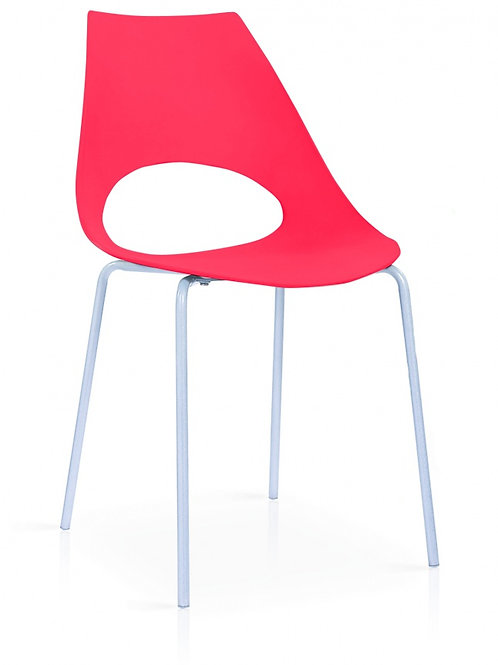 Orchard Plastic (PP) Chairs Red with Metal Legs Chrome