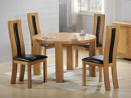 Zeus Round Dining Set Oak 4 Chairs