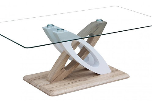 Solar Glass Coffee Table with White High Gloss