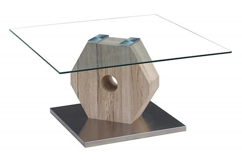 Cato Glass Coffee Table Natural & Stainless Steel