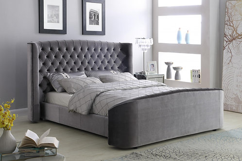 Oregon Velvet Double Bed Silver