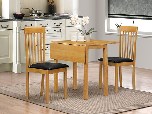 Atlas Solid Rubberwood Dropleaf Dining Set with 2 Chairs