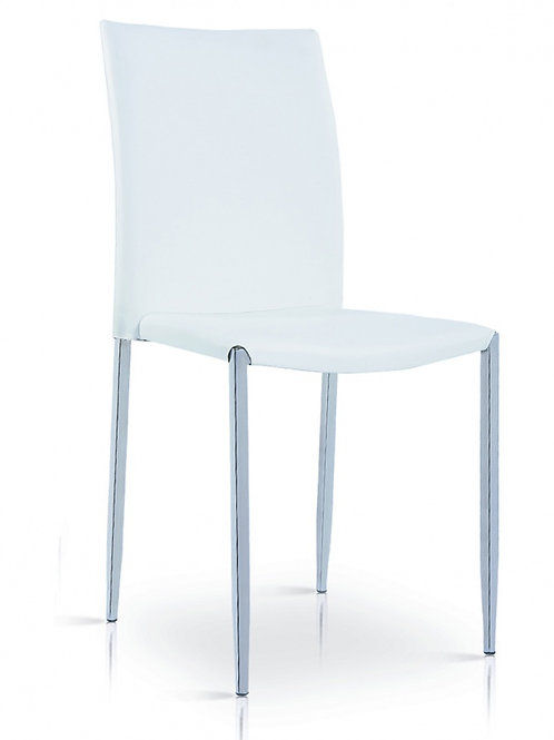 Iris PU Chair White & Chrome