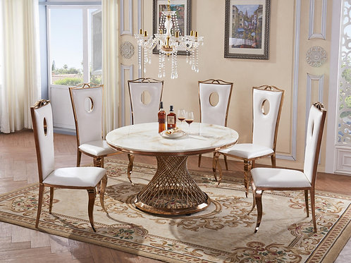 Pescara Marble Dining Table with Stainless Steel Base