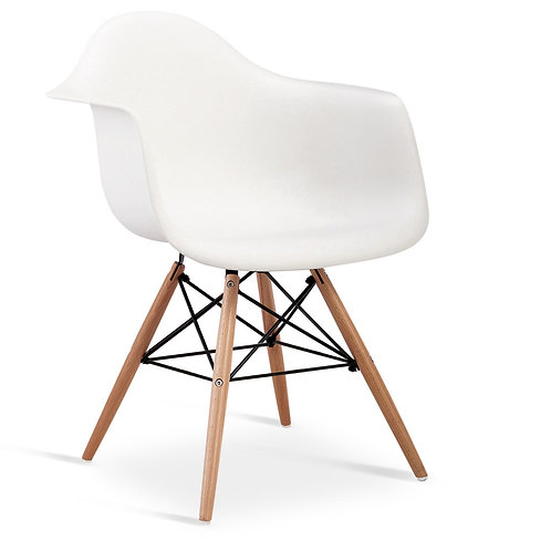 Ludstone Plastic (PP) Chairs with Solid Beech Legs White