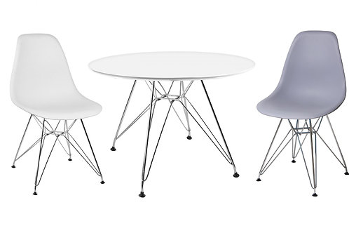 Bianca Round Dining Table Matt White & Steel Chrome Legs