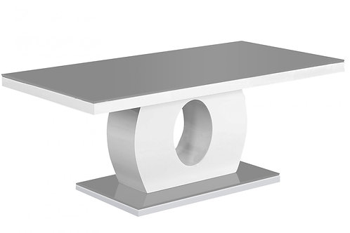 Edenhall Black Glass Coffee Table Grey & White HG