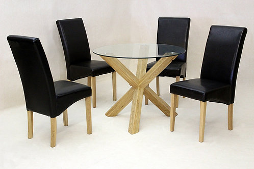 Saturn Medium Solid Oak Dining Table Glass 1200mm Round