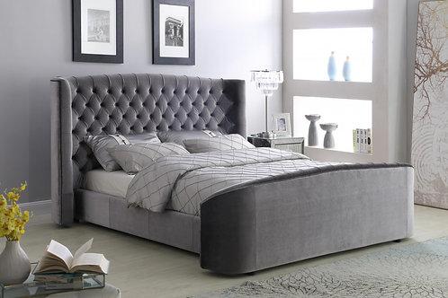 Oregon Velvet King Size Bed Silver