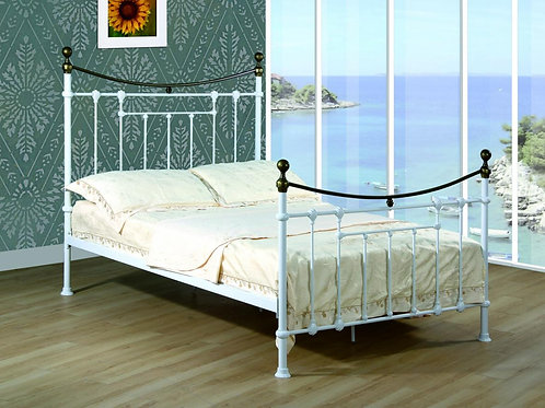 Elizabeth Double Bed White & Antique Brass