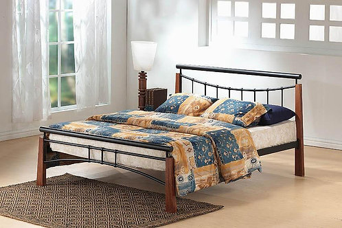 Franklin Bed Double Black/Dark Oak