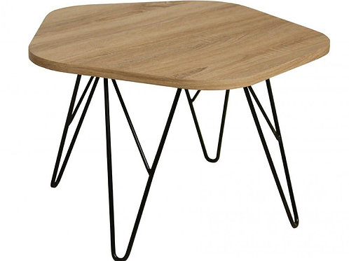Lugano Coffee Table Natural with Black Metal Legs