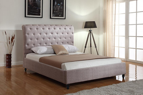 Hallcroft Mink Fabric King Size Bed Light Brown
