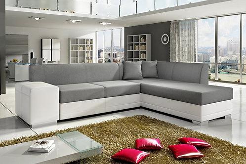 Kos Corner Sofa White PU & Grey Fabric