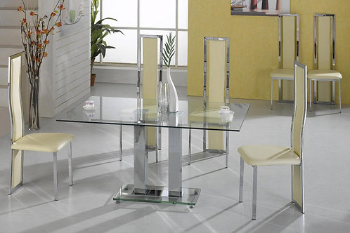 Ankara Large Dining Set Chrome 6 Trinity Chairs