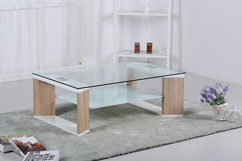 Zola Glass Coffee Table White & Natural