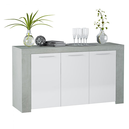 Epping Sideboard 3 Doors White & Concrete 016620L