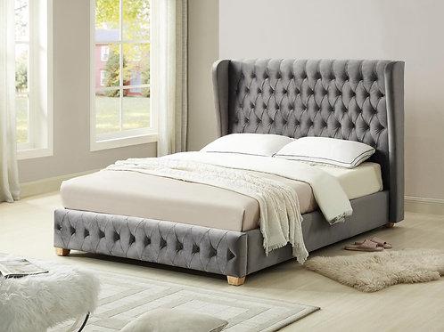 Anderton Velvet King Size Bed Silver