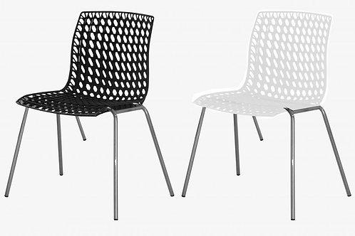 Delford Chairs Plastic & Chrome Steel Leg