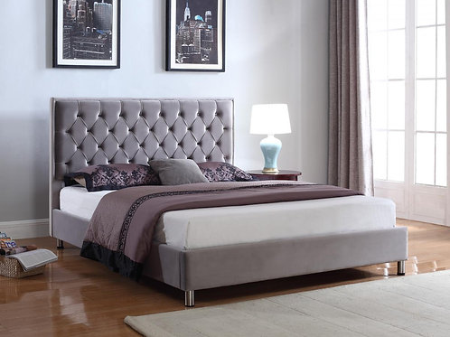 Izabel Velvet Double Bed Light Grey with Dark Grey HB