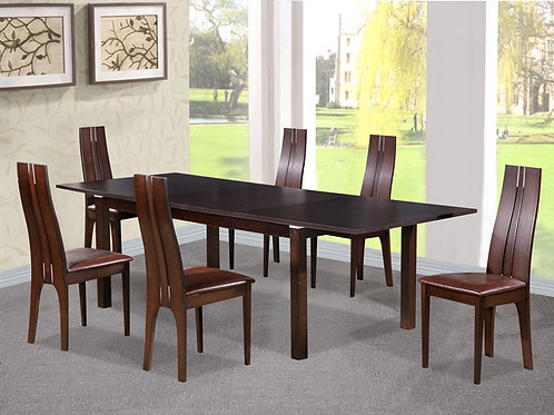 Croft Dining Set with 6 Solid Beech Chairs Dark Walnut