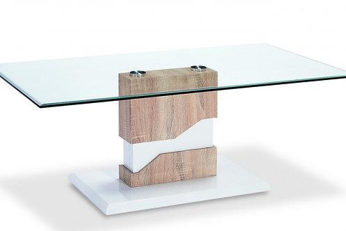 Milton Glass Coffee Table White & Natural