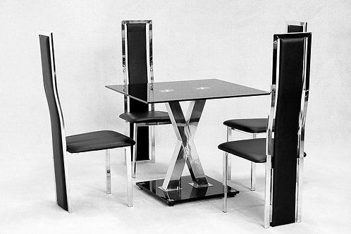 Paxel Small Dining Set Chrome&Black 4 Chairs