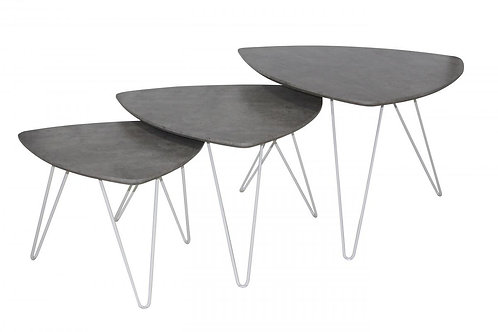 Cannon Nest of Tables Stone with White Metal Legs