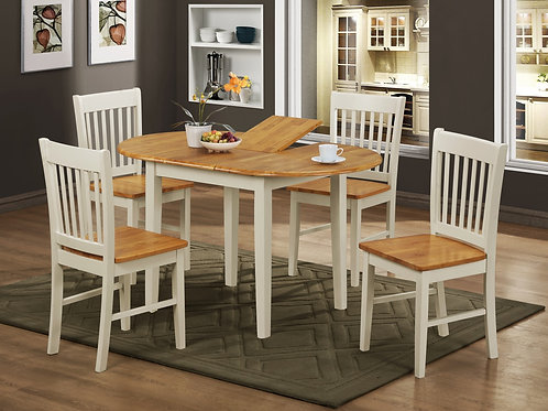 Stacey White Extending Dining Set with 4 Chairs Natural&White