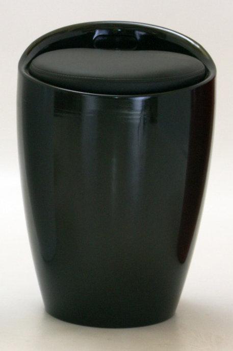 Dawson Black High Gloss Stool with Storage
