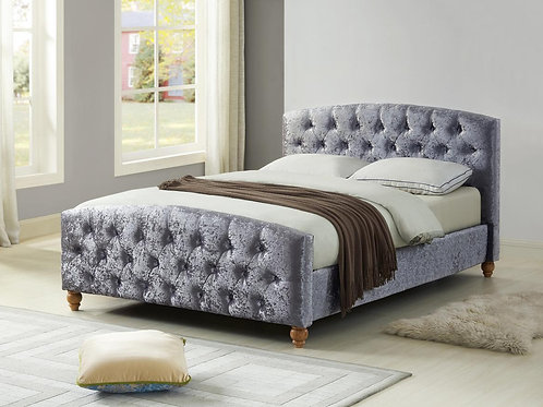 Millbrook Crushed Velvet Double Bed Silver