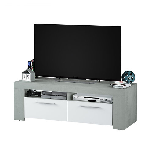 Epping TV Unit 2 Doors White & Concrete 016621L