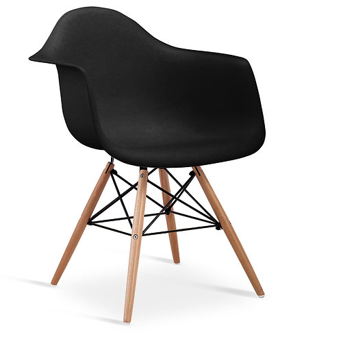 Ludstone Plastic (PP) Chairs with Solid Beech Legs Black