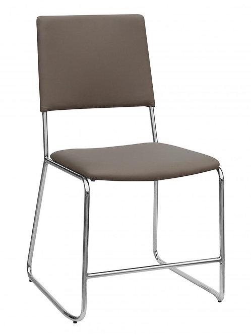 Nevis PU Chairs Taupe & Chrome