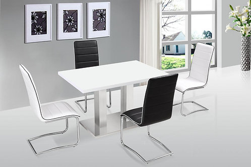 Walton Dining Set White with Stainless Steel Base 4 Chairs