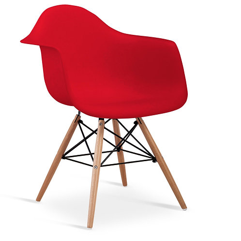 Ludstone Plastic (PP) Chairs with Solid Beech Legs Red