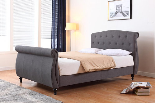 Marianna Linen Double Bed Dark Grey