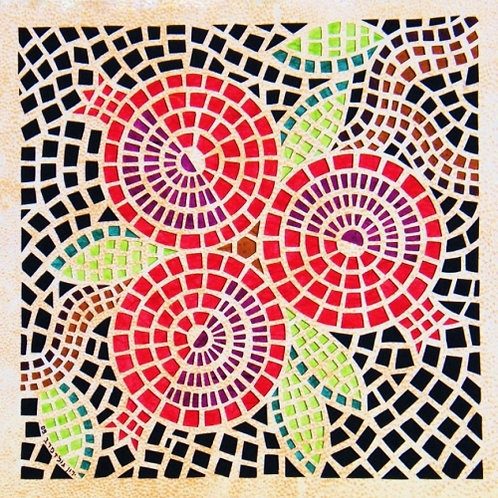 Mosaic cutout - Pomegranates- פסיפס רימונים , חיתוך