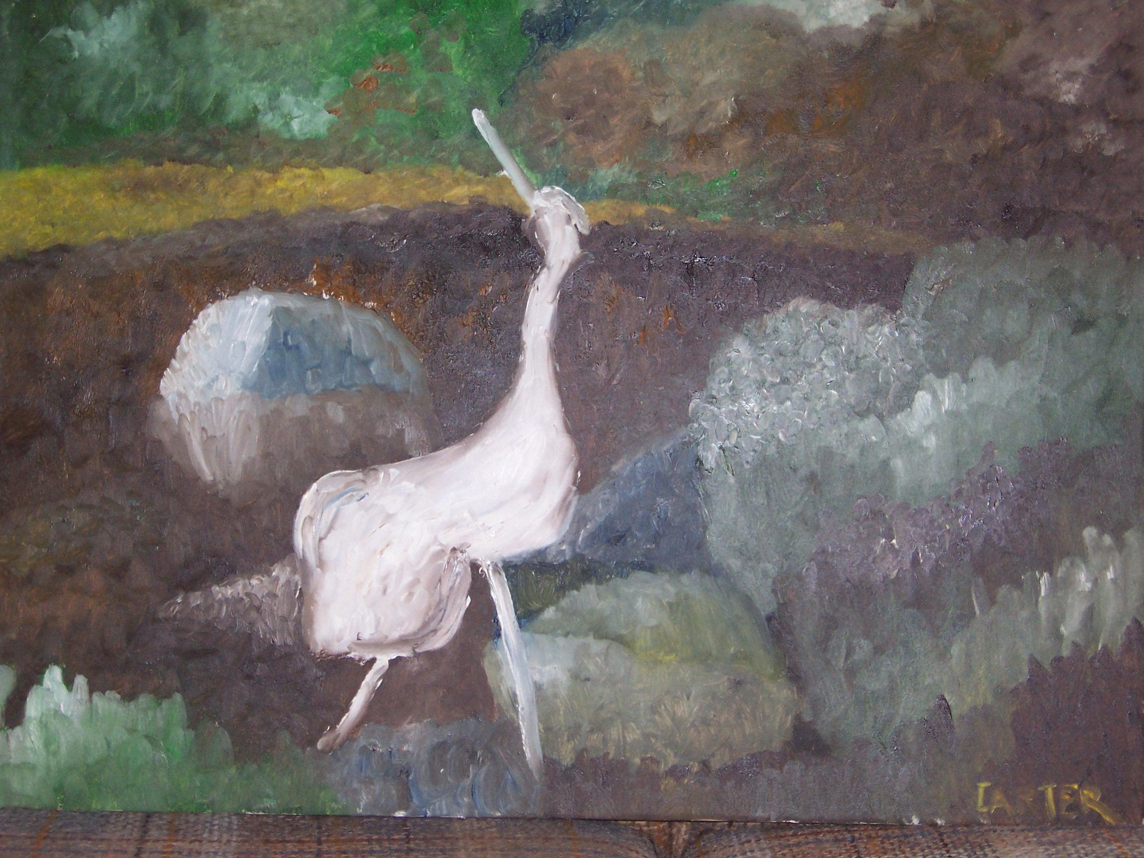 Japanese Garden Crane, 24x30, $300