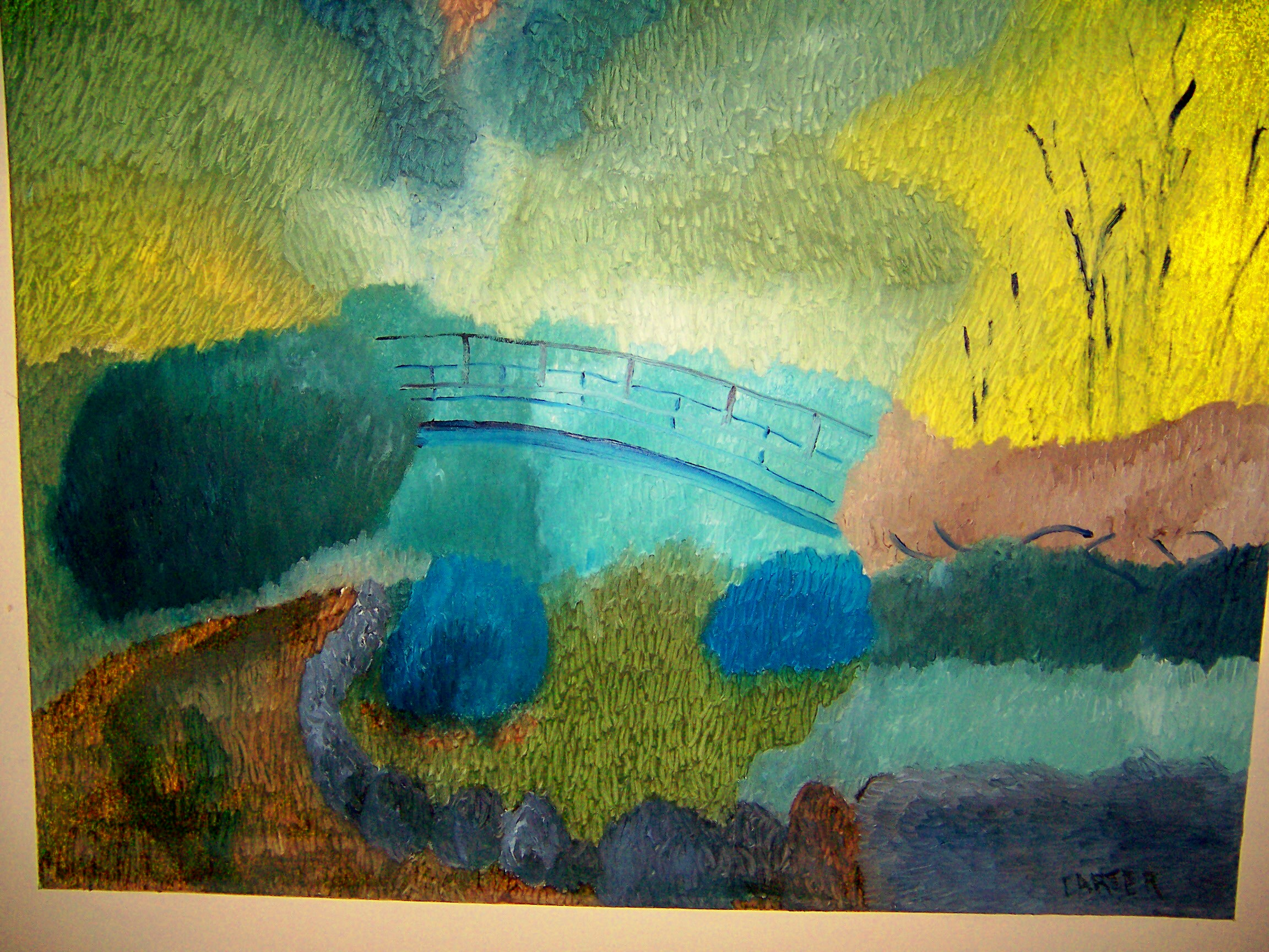 Japanese Garden Bridge, 24x30, $450