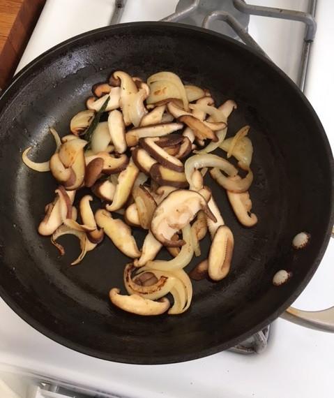 shitake mushrooms, onions, sage