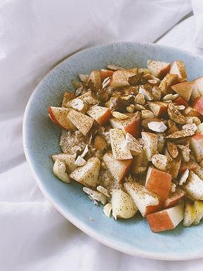 Overnight chia/oats/blomkål med æble & mandler