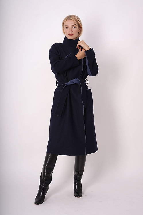 Long Wool Coat in Blue