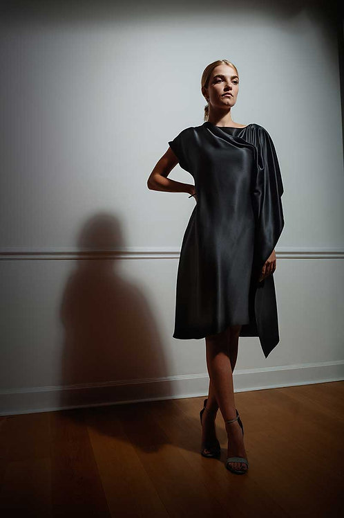 Asymmetrical Silk Dress in Black