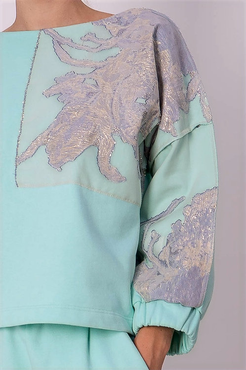 Mint Sweater with Silk Lace Detail