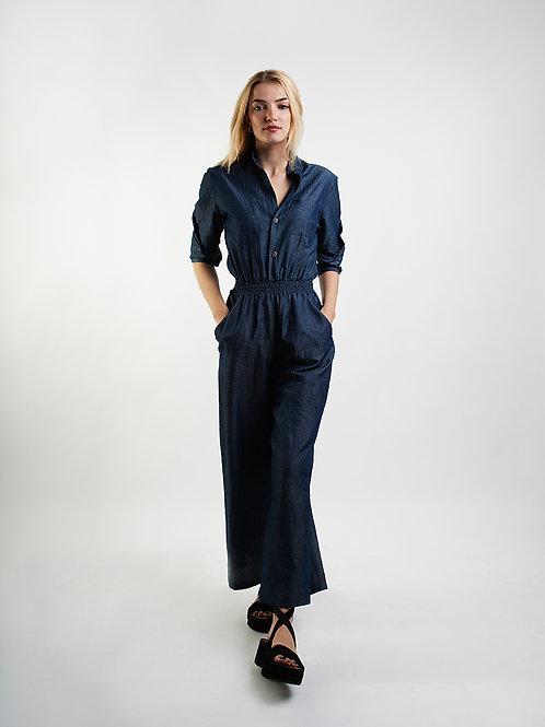 Pants Suit Linnen Optic in Blue