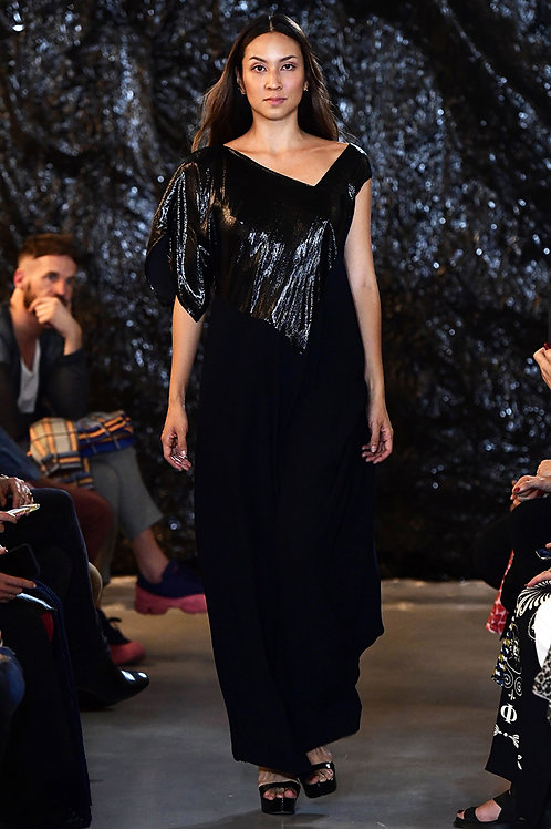 Long Silklurex-Viscose Dress in Black/ Midnight