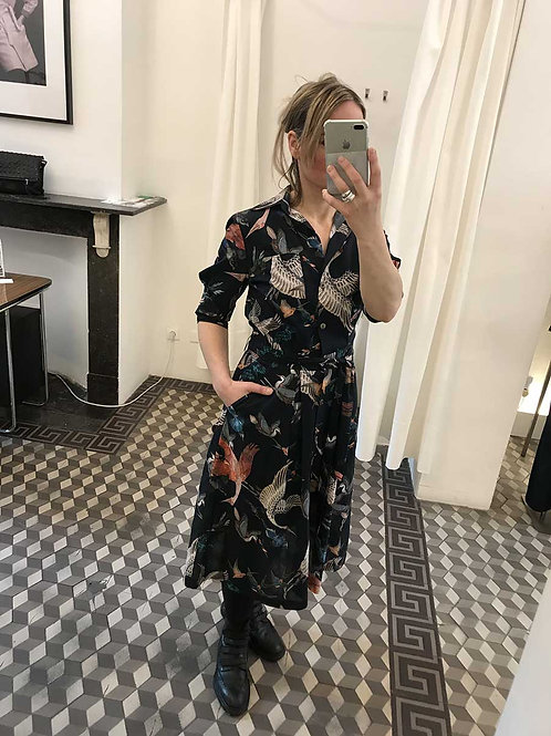 Birds Printed Dress With Draped Sleeves