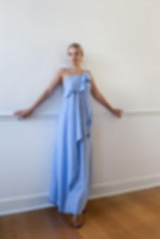 CONNI KAMINSKI SUMMER 2019 BRUSSELS BEGIUM FASHION DESIGNER BLUE COTTON DRESS LONG
