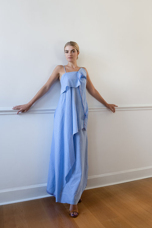 Blue Striped Draped Dress